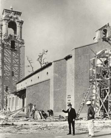 Construction of Coral Gables Congregational Church sanctuary and tower in 1924
