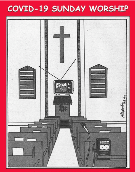 Comic of an empty sanctuary with a TV on the pulpit that has an image of a pastor speaking