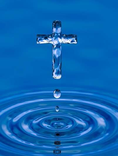 Cross made of water