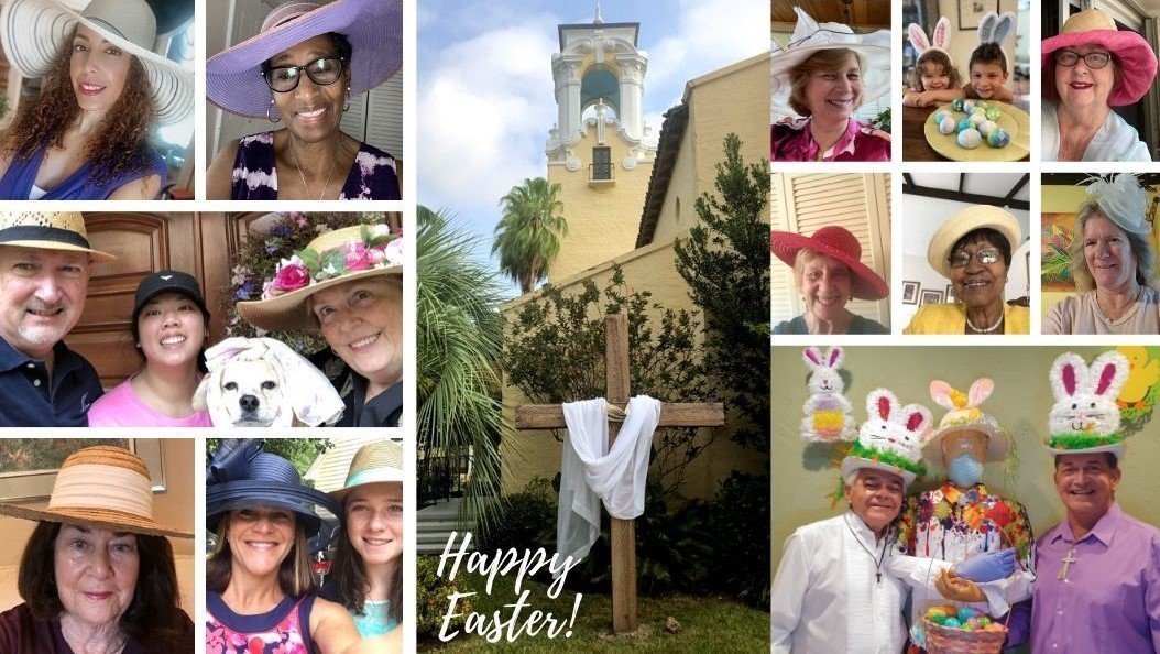 Photos of church members with their Easter bonnets on