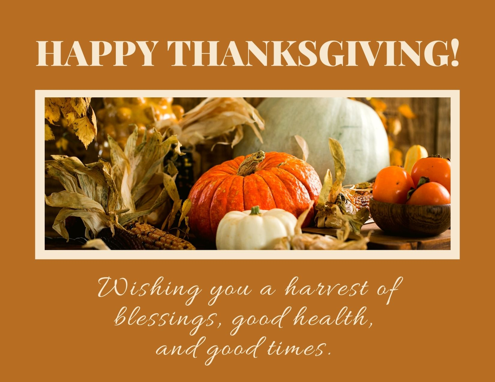 TEXT: Happy Thanksgiving! Wishing you a harvest of blessings, good health, and good times. Image: Brown background with picture of a cornucopia