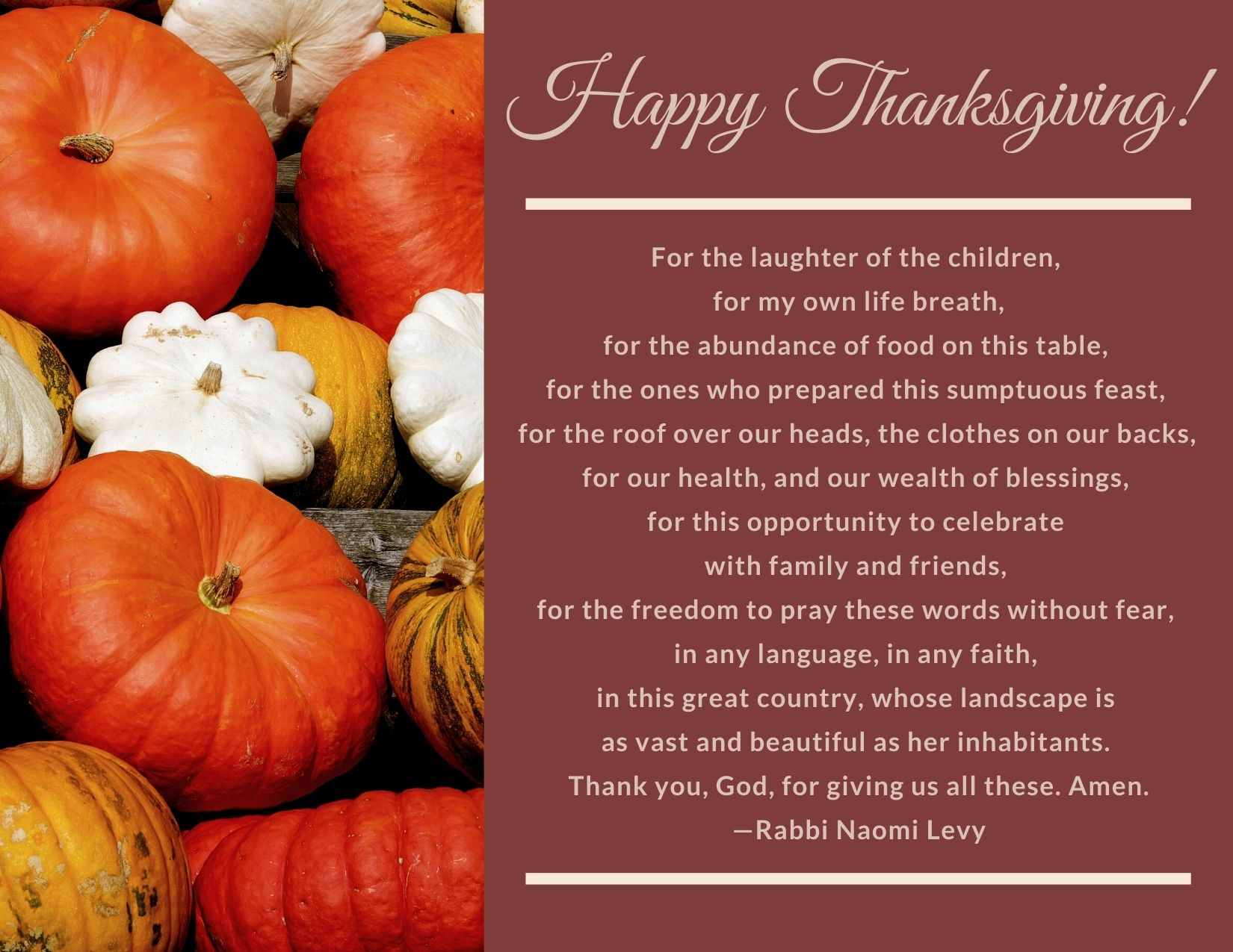 TEXT: Happy Thanksgiving! Prayer of Thanks. IMAGE: Gourds